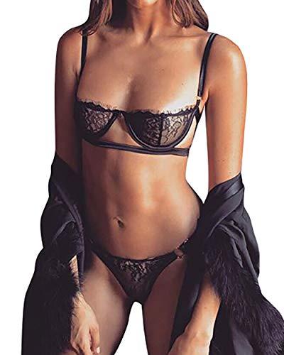 Conjunto de sujetador de lencería para las mujeres de encaje bralette con aros de pestañas mini sujetador - Negro - Large
