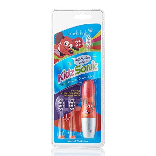 Brush-Baby KidzSonic Elektr. Zahnbürste | Kinder | 3+ Jahre | Blinkende Discolichter, sanfte Vibrationen & 2-Min.-Timer machen das Putzen zum Vergnügen! | Rot, inkl. 3 Ersatzköpfe & 1 AAA-Batterie
