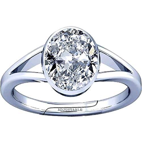 Divya Shakti 8.25-8.50 Carat American Diamond Round Zircon Gemstone Silver Adjustable Ring for Men & Women