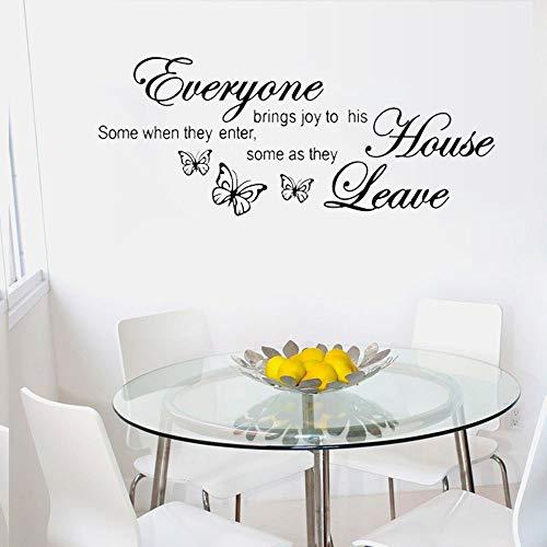 Tout le monde apporte de la joie à sa maison Wall Sticker Papillons Decal Quote Art Vinyle Decor Décoration pour Chambre Salon