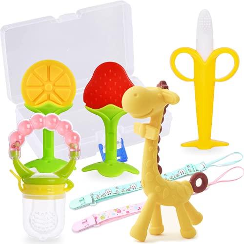 Beißring für Babys, Alled Baby Zahnen Spielzeug kinder Weiches Silikon BPA-frei Beissring mit Fruchtsauger, Kühlbeißring Backenzähne mit Halter Clip für Jungen Mädchen 0 3 6 12 18 24 Monate (Set 1)
