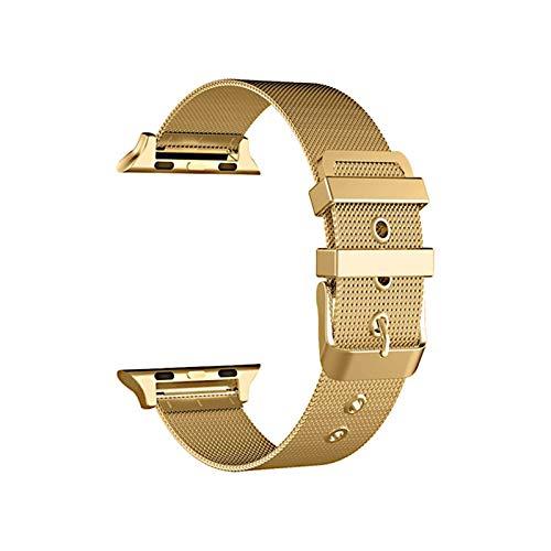 YGGFA Correa de acero inoxidable para Apple Watch, 38 mm, 42 mm, para iWatch SE 6/5/4/3/2/1, 40 mm, 44 mm, color de la correa: dorado, ancho de la correa: 38 mm y 40 mm