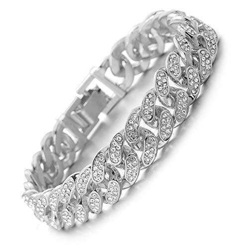 Halukakah Cuban Link Chain for Men Iced Out,15MM Men's Gold Chain Miami Bracelet 7In(18cm) Platinum White Gold Finish,Full Cz Diamond Cut Prong Set,Gift for Him