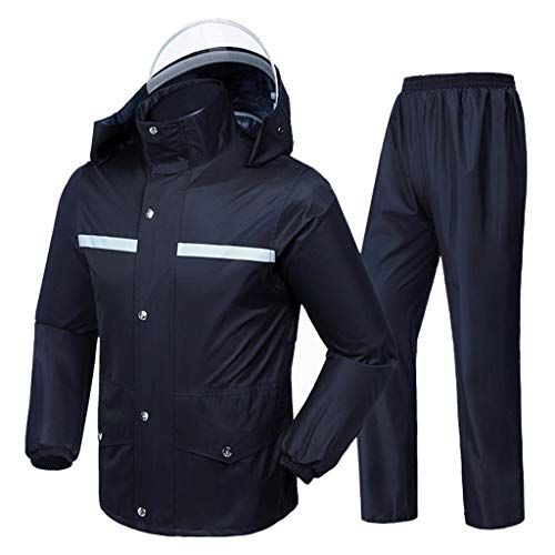 QDY-Rain Suit Impermeable Sportswear Impermeable Chubasquero Pantalones de Lluvia Split Impermeable Hombres y Mujeres Adulto equitación Doble Espesor para Exterior Camping Viaje