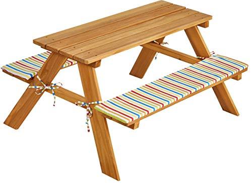 Picknickgarnitur aus Holz Picknickbank Picknicktisch mit fest montierten Bänken 93 x 78 x 50 cm (L x B x H) inkl. 2 Polsterauflagen für die Bänke