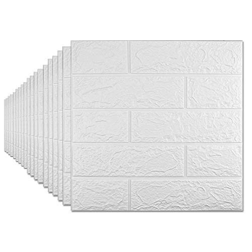 Paquete de 20 papel pintado 3D, paneles de pared de ladrillo 3D con auto-adhesivo impermeable ladrillo pe espuma azulejos de papel para…