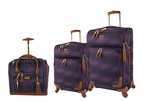 Steve Madden Designer Luggage Collection- 3 Piece Softside Expandable Lightweight Spinner Suitcases- Travel Set includes Under Seat Bag, 20-Inch Carry on & 28-Inch Checked Suitcase (Shadow Purple)
