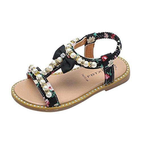OYSOHE Kinder Sandalen, Baby Mädchen Bowknot Perle Kristall Sandalen Römischen Sandalen Prinzessin Schuhe (30 EU, Schwarz)