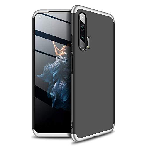 Miracle Girl Funda compatible con Huawei Honor 20 Pro, diseño 3 en 1, carcasa rígida de policarbonato mate, resistente al polvo y a los golpes, ultraligera y delgada. Negro y plateado. Talla única