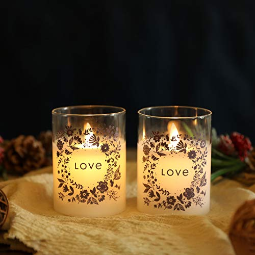 JHY DESIGN Set of 2 Glass Wax Battery Candles 10cmH Moving Flame LED Candle Real Wax Flameless Candle Flickering Electric Candle with 6-Hour Timer for Home Party Wedding Valentine's Day Gift(Love)