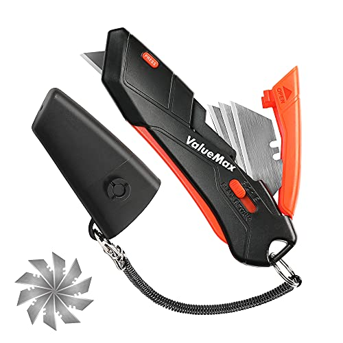 ValueMax Cúter de Seguridad Cutter de Gatillo 14 Hojas de Recambio Bloqueo de Seguridad Cuchillo Multiuso con Funda y Cadena, Duradero y Seguro