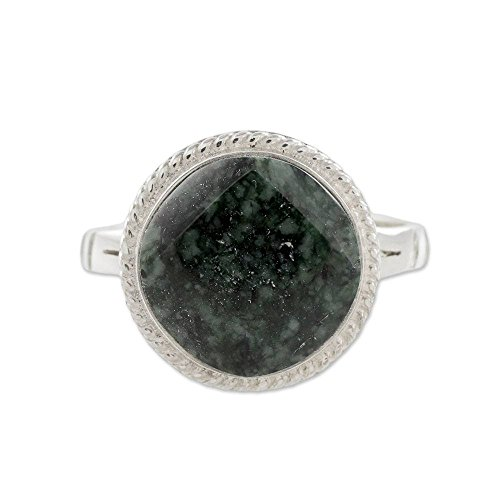 NOVICA Jade .925 Sterling Silver Cocktail Ring, Square Circle'