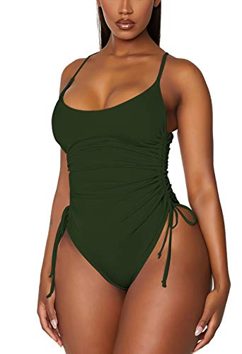 TOLENY Women's Tummy Control One Piece Swimsuits Ruched Drawstring Bathing Suits Swimwear Army Green S