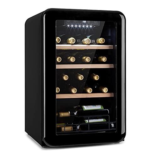 KLARSTEIN Vinetage Uno - Frigorifero Vini, Piccola Cantinetta, Temperatura: 4-22 °C, Compressore, 2 Ripiani in Legno, Luce LED, Protezione da UV, Posizionamento Libero, 70L 19 Bottiglie, Nero