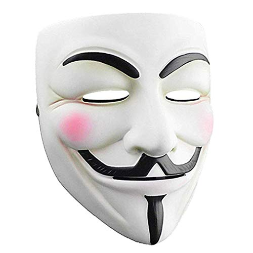 Junyulim Anonymous Mask Vendetta Mask for Masquerade Party Halloween Cosplay (White)