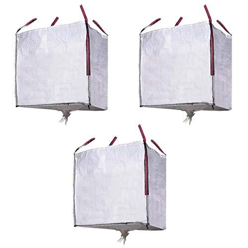 MIRTUX 3 Big Bag à 4 poignées renforcées et valve de décharge. Dimensions : 90 x 90 x 90 cm. Charge maximale : 1000 kg. Sacs parfaits pour différentes utilisations : débris, jardinage, terre,..