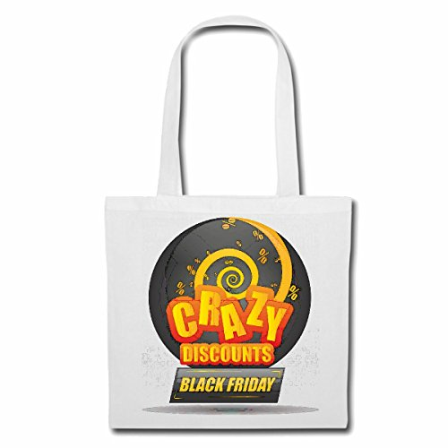 Tasche Umhängetasche CRACY Discounts Black Friday Lifestyle Fashion Street WEAR Hiphop Legendary Salsa Einkaufstasche Schulbeutel Turnbeutel in Weiß