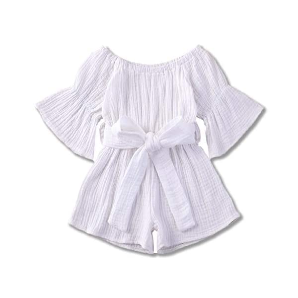 Voydsunflower Toddler Baby Girl Romper Jumpsuit Cotton Outfits Flare Sleeve Shorts Overall with Belt Summer Clothes