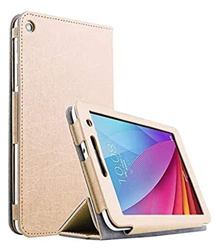 ZRH Accesorios De Pestañas para Huawei MediaPad T1 7.0, Funda De Piel De Cuero De PU De Soporte De Seda Ultra Delgada para Huawei MediaPad (Color : Gold)