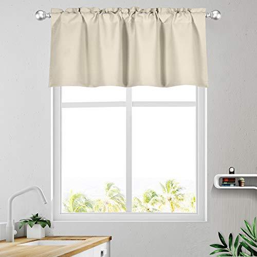 Light Beige Valance for Windows Rod Pocket Energy Efficient Cream Topper Curtain Valance 16 Inch for Bedroom Living Room Dinning Kitchen 1 Panel 42Wx16L