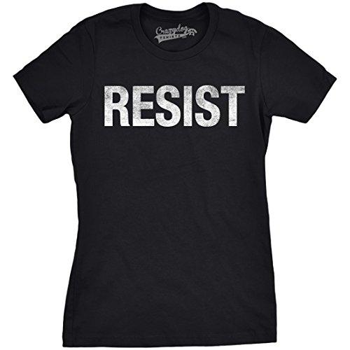 Crazy Dog T-Shirts Womens Resist T Shirt Political Anti Trump Protest Impeach Resistance Graphic (Black) - XL