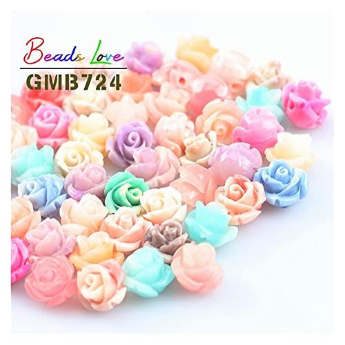 WanXingY 6/8/10 / 12mm 20 Rose Mixta Perlas de Corals DIY Creativo artesanía Talla Flores Colgantes Colgantes espaciadores Perlas, usadas para joyería Haciendo Pulseras y Collares