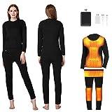 Beheizte Unterwäsche Set für Damen (Top + Hose) Funktions Skiunterwäsche für Herren, mit 2 mobilen USB-Netzteilen mit 3 Heizstufen und 6 Heizzonen,Female,M