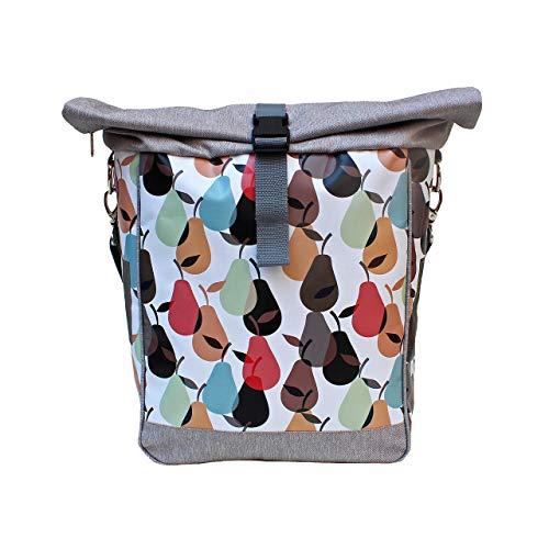 IKURI Fahrradtasche für Gepäckträger Satteltasche Einzeltasche Packtasche, abnehmbar, mit Tragegurt zum Umhängen, aus Plane, für Damen, Wasserdicht, Modell Peras