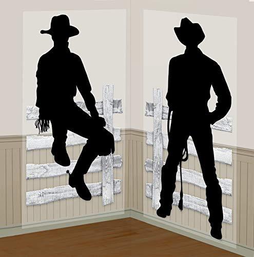 Amscan 670724 Cowboy Silhoutte Scène Set de 2 pièces