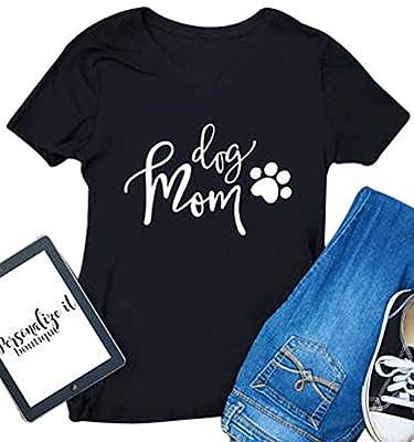 Women Summmer Short Sleeve V Neck Dog Mom Letter Print Funny T-shirt Tee Top