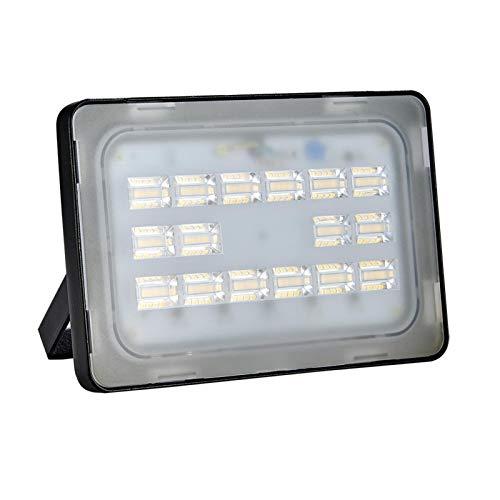 Proyector LED para exteriores de 50 W, diseño más delgado y ligero, resistente al agua IP65, 6000LM, blanco cálido 3000K, luces de seguridad súper brillantes, para iluminación exterior, jardines
