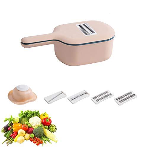 Vegetable Slicer - 4 in 1 Vegetable Spiralizer Cutter and Shredder - Kitchen Multipurpose Julienne Grater with Guard,Food Dicer for Vegetable, Fruits, Cheese,Pink