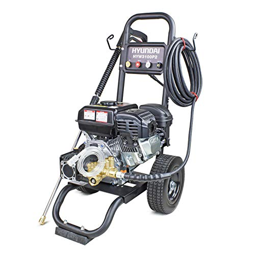 Hyundai Powerful High Torque 3100psi 212cc 7hp 4 Stroke Recoil Start Petrol Pressure Washer Cold Water Gravity Fed 4 Fitted with Pneumatic Tyres For Easy Mobility With 3 Year Platinum Warranty