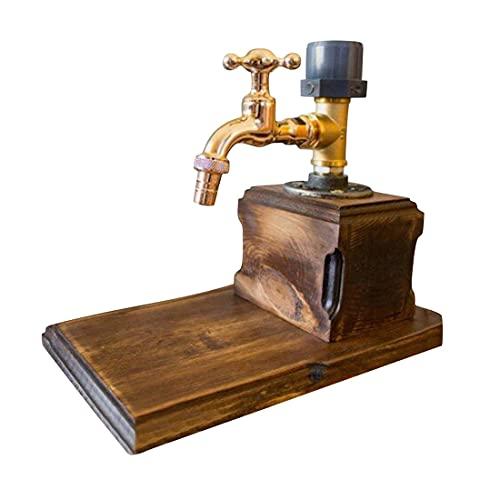 WWYCDD Juego de accesorios de latón antiguo, dispensador de madera de whisky, fuente de alcohol para fiestas, decantador de cócteles, soporte para bebidas de camarero, mejor (1 cabeza)