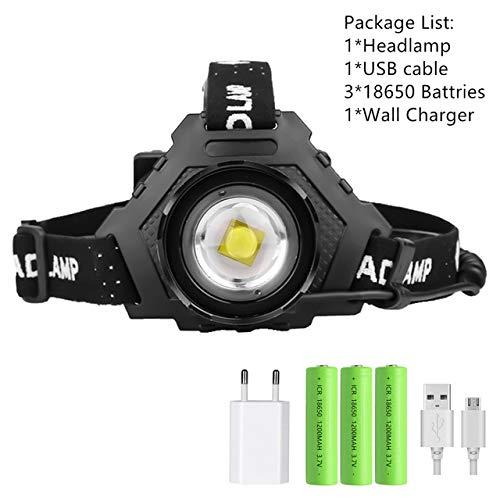 XHP90.2 8000LM LED Lampe frontale Puissant 18650 Lumière USB Lampe frontale Zoom Banque de puissance Randonnée en plein air Pêche Lumière Paquet C
