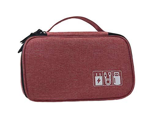 JunNeng Travel Cable Organiser Tas, Elektronica Accessoires Tas, Universele Reizen Gadget Tas voor USB Kabel Drive, SD-Kaart, Oplader Harde Schijf, Muis, Make Up Bag Case, roze