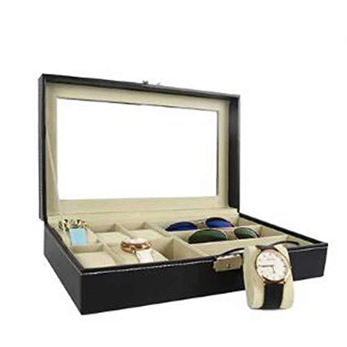 GFF Uhr Veranstalter Schmuck Vitrine, Sammlung Schmuck Aufbewahrungsbox, abschließbare Uhr Fall Armband Tablett mit Glasplatte Kunstleder