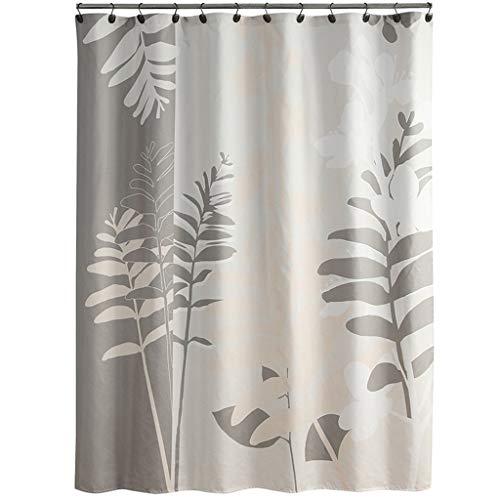WYJW 100% polyester waterdicht douchegordijn, anti-meeldauw sneldrogend dik, grijs plantenafdrukken (afmeting: 180cm*200cm)