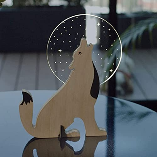 Yagerod 3D Wooden Animals Night Light, Wild bulbing, Led Nature Animal Light, Wall Wooden Mounted Animal Night Light with Magnet,Portable Creative Cartoon Desk Lamp (Wolf)