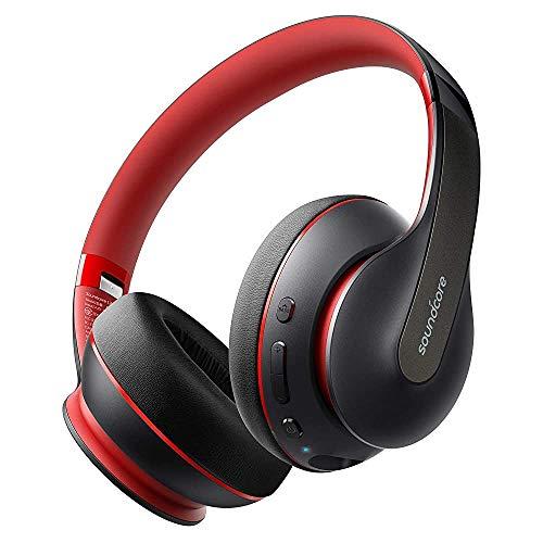 Soundcore by Anker Life Q10 Kabellose Bluetooth Kopfhörer, einklappbares Design, Hi-Res, 60 Std. Akku, USB-C, Intensiver Bas(Rot und Schwarz) (Generalüberholt)