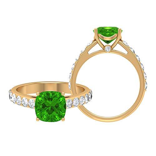 Anillo de corte cojín de 8,5 mm de tsavorita creado en laboratorio, D-VSSI Moissanite Gold Anillo, anillo de solitario con piedras laterales, anillo de compromiso de oro, 14K Oro amarillo, Size:EU 70