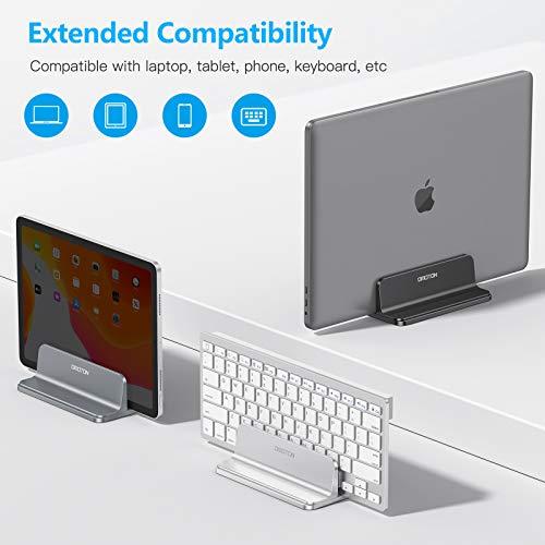 OMOTON platzsparend Laptopständer, Vertikaler Alulegierung Laptop Ständer für alle Tablets und 10-17.3 Zoll Laptops, z.B MacBook, Lenovo, Dell und mehr- Geeignet für 1 Laptop- Schwarz