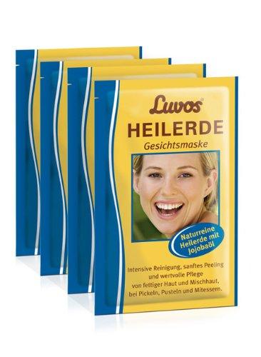 Luvos Heilerde Gesichtsmaske mit Jojobaöl (4er Pack) - Gebrauchsfertige Gesichtsmaske zur Pflege und Reinigung (4 Sachets)