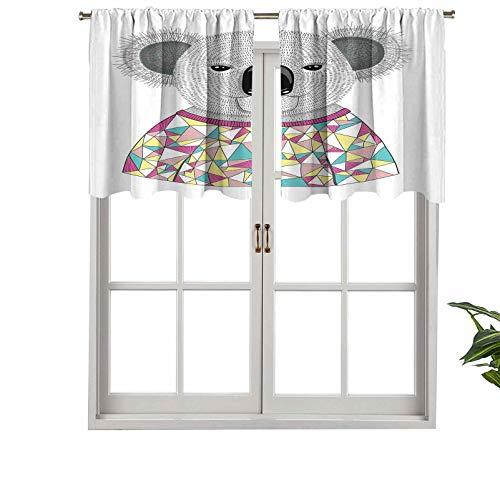 Cortina de ventana con filtro de luz para barra, cenefa hipster koala con colorida camisa poligonal con triángulos angulares, juego de 2, 42 x 24 pulgadas para ventanas de dormitorio, cocina o baño