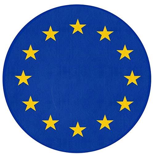 N\A Bandera de la Unión Europea Alfombras de área Redonda Antideslizantes Alfombra de Piso de Cocina Alfombra de Piso Suave para Silla Sala de Estar Dormitorio, Diámetro