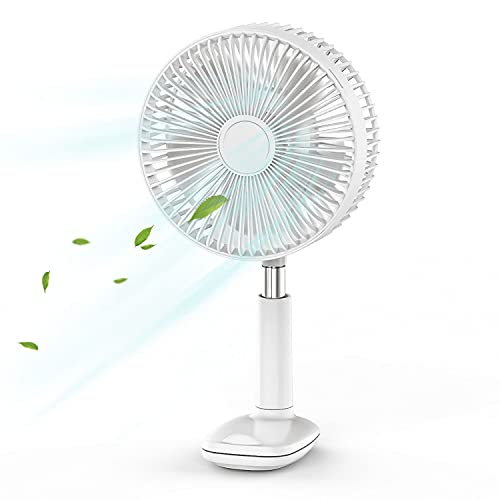 OGORI Desk Fan 8 inch Clip On Fan Rechargeable Battery Operated Electric Fan Rotatable Head and Height for Home Office Bedroom Table and Desktop