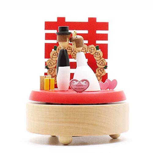 Caja de Música La caja de música de madera de la boda de la caja de música giratoria creativo novio Novia china Hola Palabra regalo de boda de la caja de música Cajas Musicales decoración