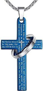 Blue Ring Cross Pendant Necklace Long Chain for Men Women