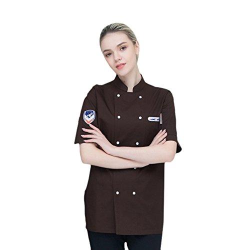 Dooxi Unisex Herren und Damen Sommer Kurzarm Kochjacke Mode Westliches Restaurant Kantine Küche Hotel Uniform Berufsbekleidung Braun M