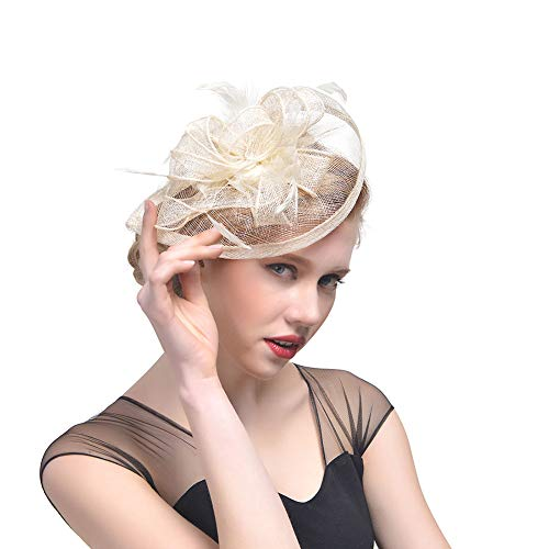 Mallalah Femme Coiffure Mariage Chapeau Fascinator Soirée Bibi élégant Mini Brêt Cocktail Pince à Cheveux Plume Orné Fleur Fête Plage Mariage Vintage Bandeau